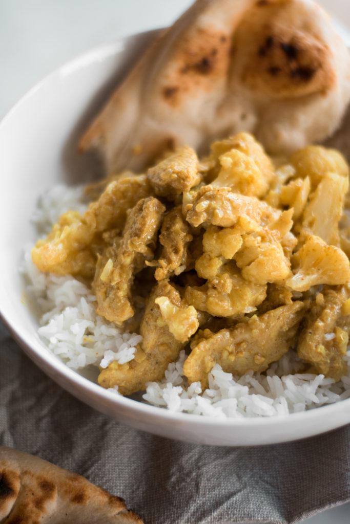 t know what curry was until nigh a twelvemonth agone chicken + cauliflower curry