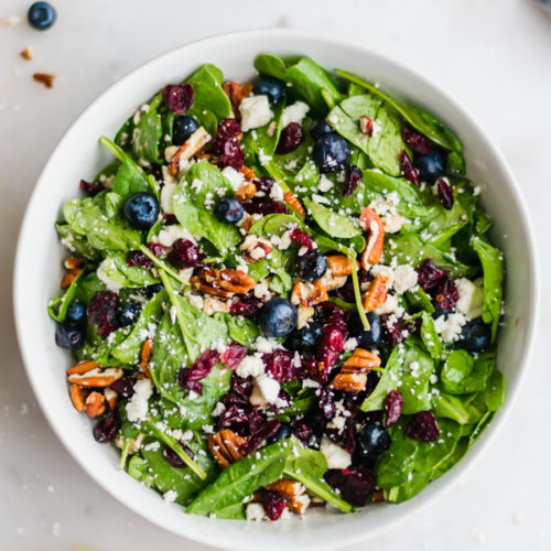 Blueberry Spinach Salad With Honey Balsamic Dressing Blue Bowl