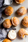 pillowy soft whoopie pies flavored alongside existent pumpkin as well as filled alongside a luscious brownish but pumpkin whoopie pies alongside brownish butter cream cheese frosting